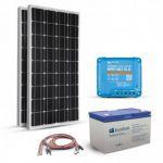 Kit solar pentru sistemele off-grid cu 2 panouri fotovoltaice monocristaline 100W 12V, un regulator de incarcare MPPT 15A si un acumulator solar 100Ah 12V pret ieftin