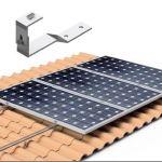 Structura robusta de sustinere pentru 2 panouri fotovoltaice, cu carlige reglabile, pentru acoperisurile din tigla pret ieftin