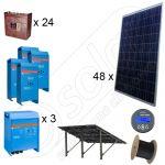 Instalatie solara fotovoltaica trifazata cu productie de energie de 42kWh media zilnica anuala cu montaj pe sol la cheie