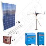 Instalatii hibride solare si eoliene pentru irigatii in agricultura de 2.25kW PV si 600W EOL putere instalata