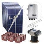 Kit hibrid monofazat eolian si fotovoltaic cu 5kW media zilnica anuala si productie de energie de 3kW cu montaj inclus
