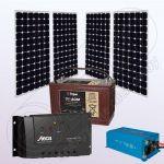 Sistem fotovoltaic solar 12V rezidential cu invertor IPM200Wx4-1200W-PRS3030-30Ah-100Ah