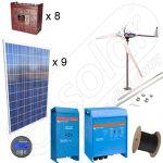 Sistem hibrid fotovoltaic de 2,25kW si eolian de 600W cu structura de montaj pentru acoperis inclinat la cheie