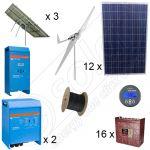 Sisteme monofazate hibride solare fotovoltaice de 3kW plus eoliana de 3kW putere instalata cu montaj la cheie inclus