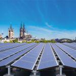 Structura de montaj si prindere pentru panouri solare fotovoltaice de 5kW putere instalata pentru acoperis plan fara perforare