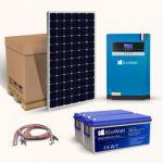 Kit fotovoltaic autonom hibrid 1575W 3.5kVA cu 5 panouri fotosensibile monocristaline 315W 24V, un invertor hibrid, doi acumulatori solari plumb-carbon 150Ah 12V si setul complet de cabluri si conectori pret ieftin