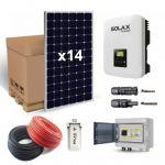 Kit fotovoltaic 4340W pentru autoconsum cu 14 panouri solare monocristaline 310W 24V, un invertor monofazat, o caseta de sigurante DC si o antena WIFI pret ieftin