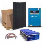 Kit solar cu 8 panouri fotosensibile monocristaline 320W 24V, 4 acumulatori solari plumb-carbon 150Ah 12V si un invertor hibrid MPPT 48V 100A pentru instalatiile autonome pret ieftin
