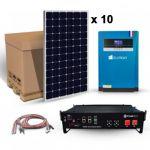 Kit solar pentru sisteme autonome cu 10 panouri fotovoltaice monocristaline 315W 12V, un acumulator solar litiu 2.4kWh 48V 50A si un invertor hibrid MPPT 5.5KVA 48V 100A pret ieftin