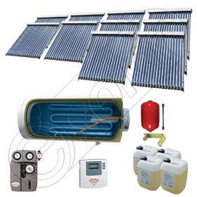Instalatii solare presurizate cu boiler solar pentru apa calda, Colectoare solare vidate la pachet cu boiler orizontal, Set colectoare solare vidate si boiler orizontal SIU 10x18-1500.1BMH