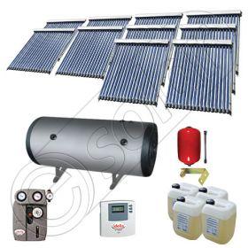 Instalatii solare presurizate cu boiler solar pentru apa calda, Colectoare solare vidate la pachet cu boiler orizontal, Set colectoare solare vidate si boiler orizontal SIU 10x18-2000.2BMH