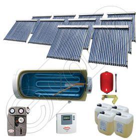Instalatii solare presurizate cu boiler solar pentru apa calda, Colectoare solare vidate la pachet cu boiler orizontal, Set colectoare solare vidate si boiler orizontal SIU 10x20-2000.1BMH