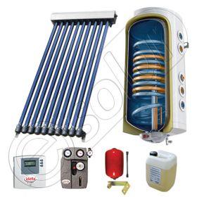 Boiler cu 2 serpentine si panou solar cu 10 tuburi vidate, panou tuburi vidate si boiler solar cu doua serpentine