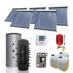 Puffer bivalent de 1000 litri si panouri solare ieftine, Pachet cu panou solar cu tuburi vidate, Instalatii solare pentru incalzire Solariss Iunona