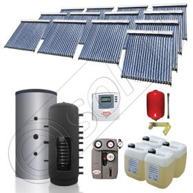 Colectoare solare China cu puffer si un schimbator de caldura, Pachet cu panouri solare pentru incalzire, Puffer si panouri solare Solariss Iunona