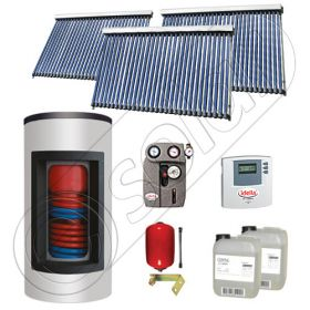 Set panou solar apa calda cu tuburi vidate cu boiler Kombi, Pachet cu panou solar cu tuburi vidate, Panouri cu tuburi vidate si boiler tanc in tanc