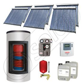 Pachet cu panou solar apa calda tot anul, Panouri solare si boiler Kombi cu 2 serpentine, Panouri cu tuburi vidate si boiler Solariss Iunona