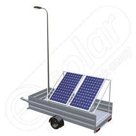 Generator fotovoltaic mobil IDELLA Mobile Energy IME 2 montat pe o remorca cu o singura axa, cu stalp si o lampa de iluminat