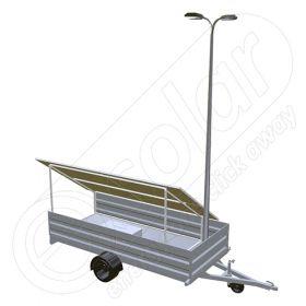 Generator fotovoltaic mobil IDELLA Mobile Energy IME 4 montat pe o remorca auto, cu 4 panouri solare IDELLA Power Poly IPP 550W, un stalp de iluminat si doua lampi solare cu led
