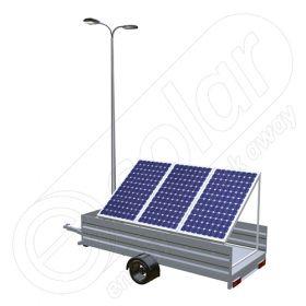 Generator fotovoltaic mobil montat pe o remorca cu o singura axa IDELLA Mobile Energy IME 3, cu un stalp pentru iluminat, 3 panouri solare IDELLA Power Poly IPP 550W si 2 lampi cu LED