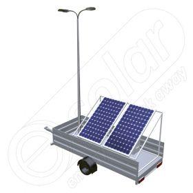 Generator solar mobil IDELLA Mobile Energy IME 2 cu doua panouri fotovoltaice, un stalp si doua lampi de iluminat montate pe o remorca auto cu o singura axa