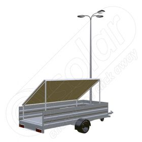 Generator solar mobil IDELLA Mobile Energy IME 3 pentru aplicatii agricole sau santiere temporare cu 3 panouri fotovoltaice IDELLA Power Poly IPP 550W, un stalp pentru iluminat si 3 lampi cu LED