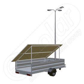 Generator solar mobil montat pe o remorca cu o singura axa IDELLA Mobile Energy IME 4, cu 4 panouri fotovoltaice IDELLA Power Poly IPP 550W, un stalp de iluminat cu 3 brate si 3 lampi solare cu LED