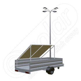 Instalatie fotovoltaica mobila montata pe remorca cu o singura axa IDELLA Mobile Energy IME 2, cu doua panouri solare, un stalp si 4 corpuri de iluminat cu leduri