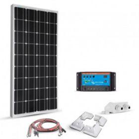 Kit 100W 12V pentru sisteme fotovoltaice instalate pe autorulote si barci cu un panou fotoelectric monocristalin 100W 12V, un regulator de incarcare solar PWM 10A 12/24V si 4 colturi de fixare pret ieftin