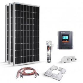 Kit 300W 12V pentru autorulote si barci cu 3 panouri fotovoltaice monocristaline 100W 12V 1200 x 510 x 35 mm, un regulator de incarcare MPPT 30A 12V – 24V si 4 colturi de fixare pret ieftin