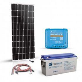 Kit cu cabluri premontate pentru sistemele autonome 180W 12V cu un regulator de incarcare MPPT 15A, un panou fotoelectric monocristalin 180W 12V si un acumulator 100Ah 12V pret ieftin