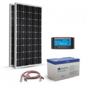 Kit fotovoltaic autonom 200W cu doua panouri solare monocristaline 100W 12V, un regulator de incarcare PWM 20A, un acumulator cu gel 100Ah 12V si setul complet de cabluri si conectori pret ieftin