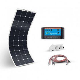 Kit fotovoltaic precablat pentru rulote, autorulote si barci cu un panou solar monocristalin flexibil 110W 12V pentru spatii reduse si un regulator de incarcare PWM 10A 12V – 24V pret ieftin