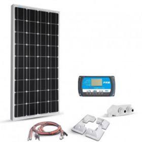 Kit solar 100W 12V pentru barci si autorulote cu un panou fotovoltaic monocristalin 100W 12V, un regulator de incarcare PWM 10A 12/24V si setul complet de cabluri si conectori pret ieftin