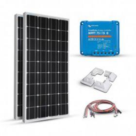 Kit solar 200W pentru barci, rulote si autorulote cu doua panouri fotoelectrice monocristaline 100W 12V, un regulator de incarcare MPPT 15A si setul complet de cabluri pret ieftin