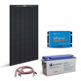 Kit solar 320W 12V autonom cu un panou fotovoltaic monocristalin Full Black 320W 24V, un regulator de incarcare MPPT 30A si un acumulator solar 150Ah 12V pret ieftin