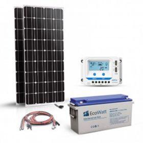 Kit solar 360W pentru sisteme off-grid cu 2 panouri fotoelectrice monocristaline 180W 12V, un regulator de incarcare PWM 30A si un acumulator solar 150Ah 12V pret ieftin