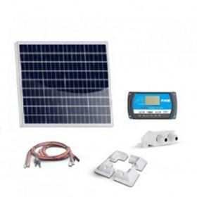 Kit solar 50W precablat pentru autorulote si barci cu un panou fotovoltaic policristalin 50W 12V, un regulator de incarcare PWM 10A 12/24V si sistem de fixare pret ieftin