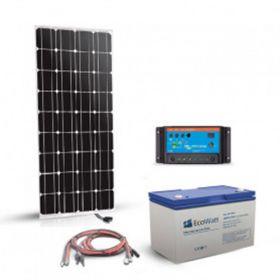 Kit solar autonom 180W 12V cu un panou fotovoltaic monocristalin 180W 12V, un regulator de incarcare 20A PWM si un acumulator 100Ah 12V cu descarcare lenta pret ieftin