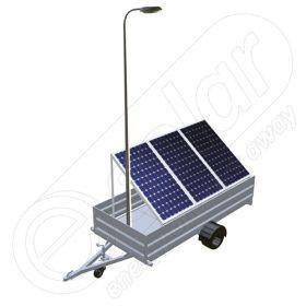 Remorca solara mobila pe o singura axa IDELLA Mobile Energy IME 3, cu trei panouri fotovoltaice IDELLA Power Poly IPP 550, un stalp si lampa cu LED-uri
