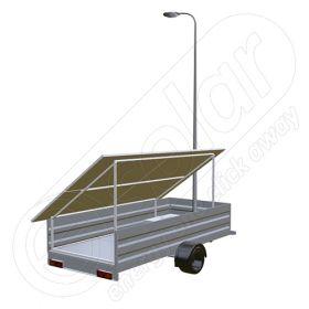 Remorca solara mobila pe o singura axa IDELLA Mobile Energy IME 4, cu 4 panouri fotovoltaice de inalta calitate, un stalp pentru iluminat si o lampa solara cu LED