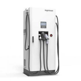 Statie de incarcare rapida si eficienta pentru masini electrice si masini hibride, compatibila cu CHADEMO, CCS si Mode 3 Type 2 AC, avand posibilitatea de a incarca simultan cu curent AC si DC pret ieftin