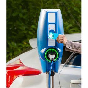 Statii electrice de incarcare 3.7 – 22kW, cu doua prize Type 2, pentru masini electrice si hibride, ce pot fi montate pe perete sau pe un picior metalic vertical, cu acces prin card RFID sau aplicatie mobila pret ieftin 4