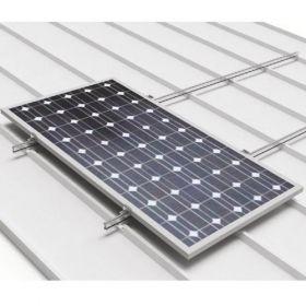 Sistem de fixare pe acoperis inclinat din tabla cutata pentru 3 panouri fotoelectrice, policristaline sau monocristaline, dispuse pe verticala pret ieftin