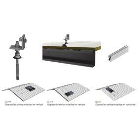 Structura de prindere fixa din aluminiu pentru acoperis din tabla pentru 5 panouri fotovoltaice, compatibila cu modulele solare 1650/2000 x 1000 mm (35 - 50 mm) pret ieftin 2