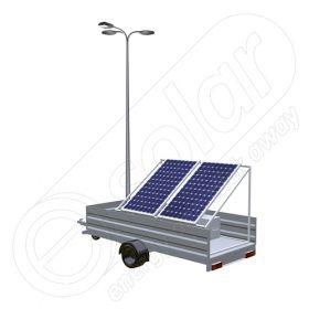 Remorca fotovoltaica IDELLA Mobile Energy IME 2 cu doua panouri solare, un stalp si 3 corpuri de iluminat cu leduri
