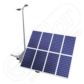 Generator fotovoltaic mobil IDELLA Mobile Energy IME 8 cu un stalp pentru iluminat, doua lampi cu LED si 8 module solare IDELLA Power Poly IPP 550W, pentru santiere temporare sau aplicatii agricole