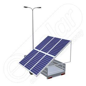 Generator fotovoltaic mobil montat pe o remorca auto cu o singura axa IDELLA Mobile Energy IME 6 pentru aplicatii agricole sau santiere temporare cu 6 panouri solare, un stalp pentru iluminat si doua lampi cu LED