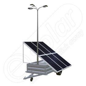 Generator solar mobil IDELLA Mobile Energy IME 6 montat pe o remorca auto cu o singura axa, pentru santiere temporare sau aplicatii agricole, cu 6 panouri fotovoltaice IDELLA Power Poly IPP 550W, un stalp pentru iluminat cu 3 brate si 3 lampi cu LED