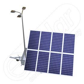 Generator solar mobil pentru santiere temporare sau aplicatii agricole IDELLA Mobile Energy IME 8 montat pe o remorca auto pe o singura axa, cu 8 module fotovoltaice, un stalp pentru iluminat si 3 lampi solare cu LED